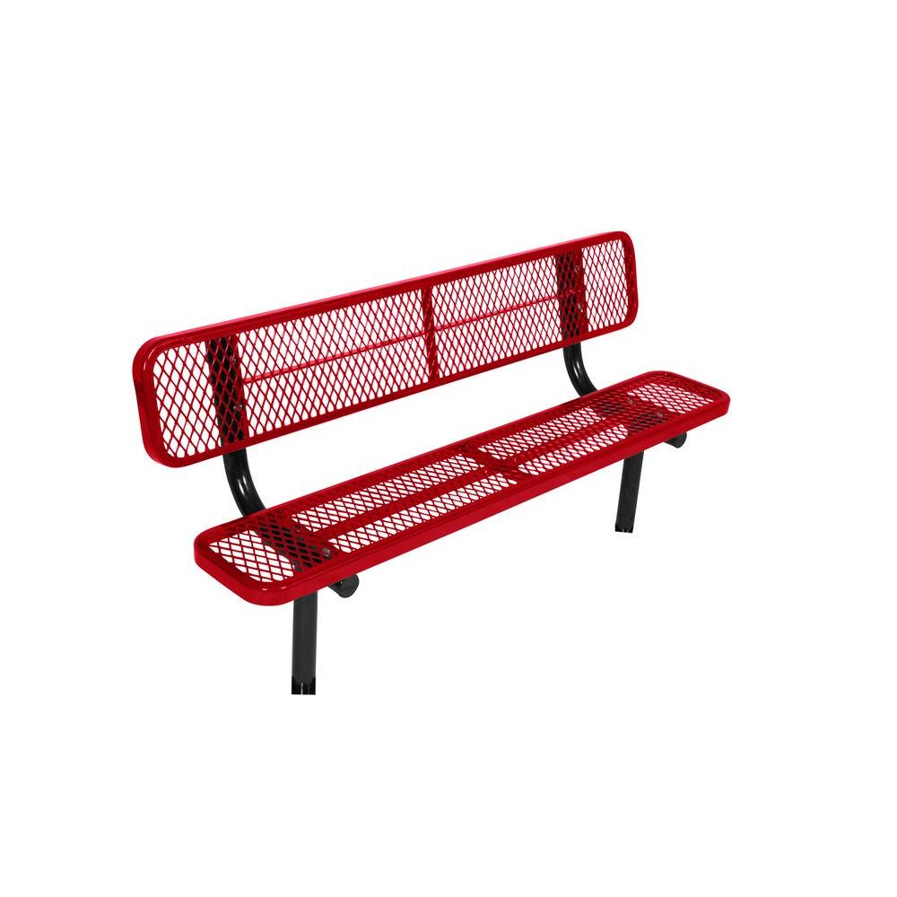 In-Ground 8 ft. Red Diamond Commercial Park Bench with Back