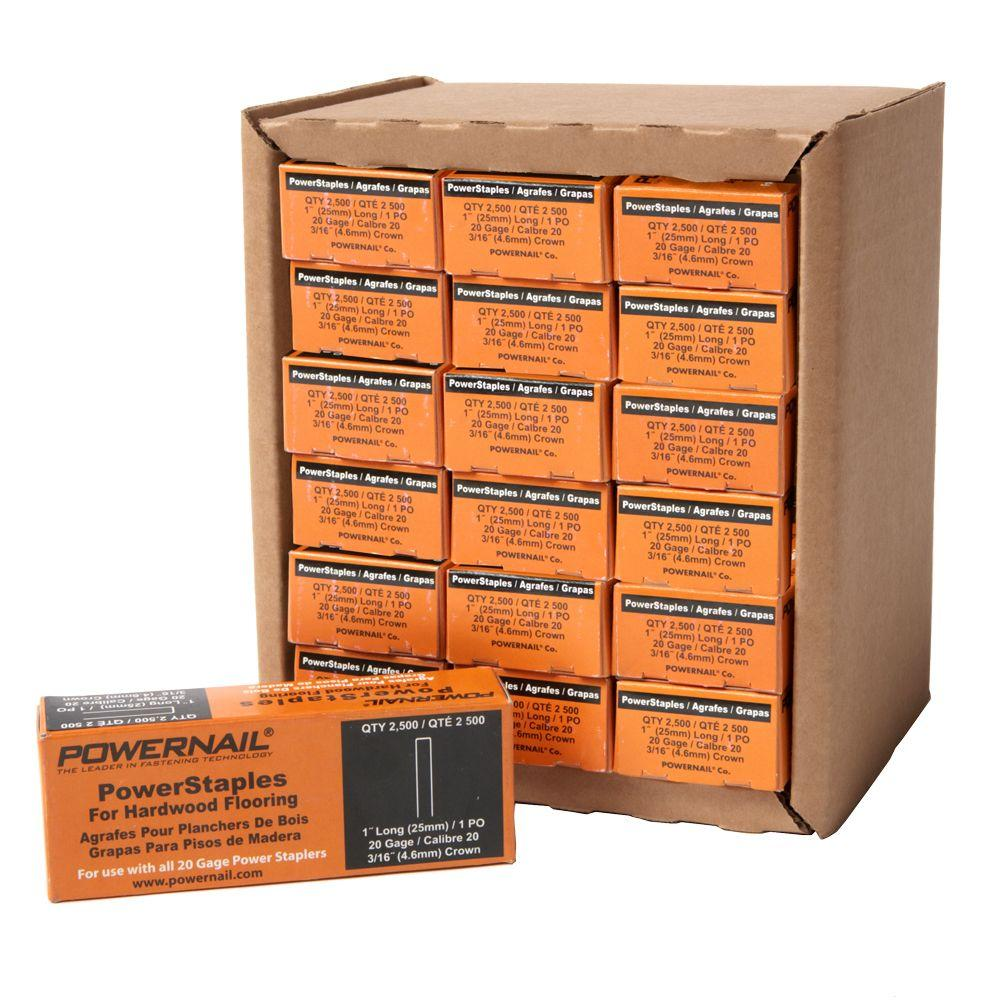 1 in. x 20-Gauge Hardwood Flooring PowerStaples 15 Boxes of 2,500