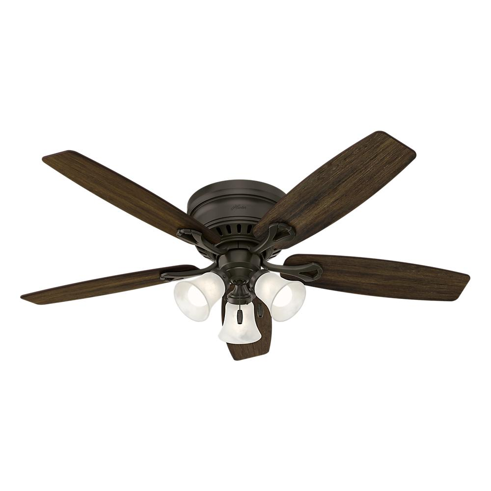 hunter oakhurst 52 in led indoor low profile new bronze ceiling fan with light kit 52016 the. Black Bedroom Furniture Sets. Home Design Ideas