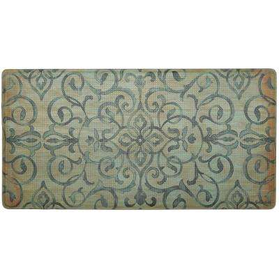 Cook N Comfort Green Rustic Medallion 20 in. x 39 in. Kitchen Mat