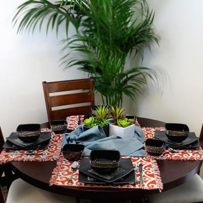 Naina 16-Piece Modern Black Stoneware Dinnerware Set (Service for 4)
