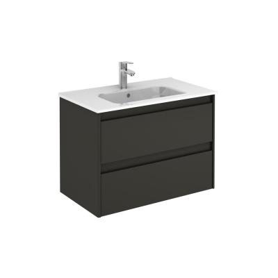 Ambra 80 31.6 in. W x 18.1 in. D x 22.3 in. H Bathroom Vanity Unit in Anthracite with Vanity Top and Basin in White