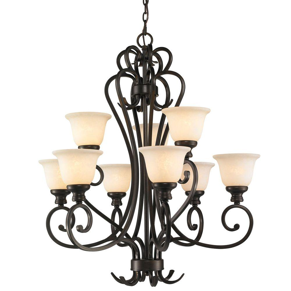 Dalian Collection 9-Light Burnt Sienna 2-Tier Chandelier
