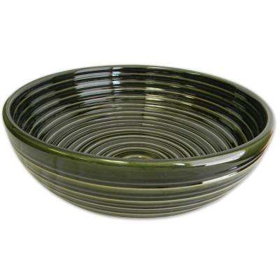 Ribbed Ceramic Vessel Sink in Evergreen