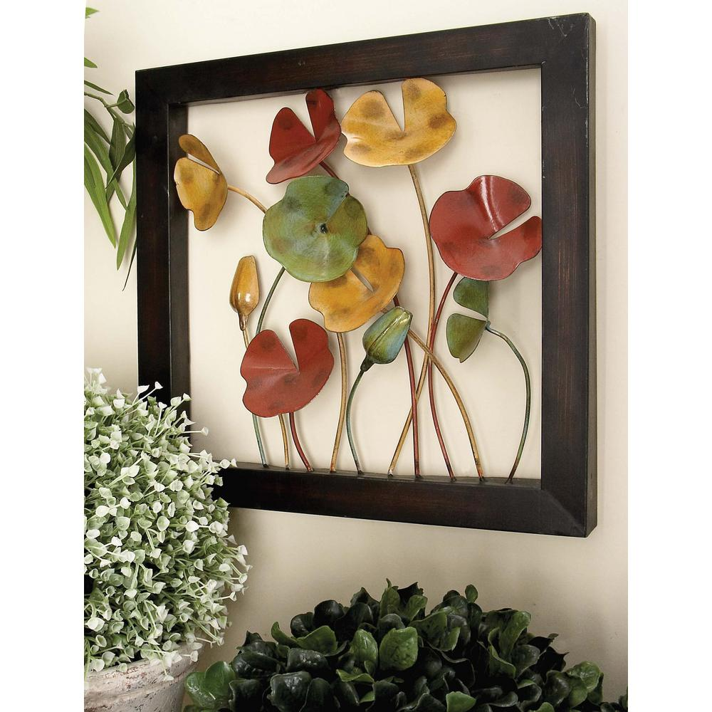 Litton Lane 4 Piece New Traditional Poppy Flower With Copper Stems Metal Wall Decor
