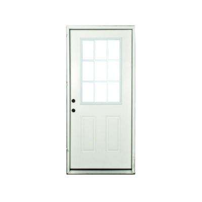 32 in. x 80 in. Premium Right-Hand White 9-Lite External Grille Primed Fiberglass Prehung Front Door