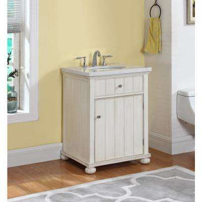 Hampton 23 in. W x 21 in. D Vanity in Distressed Antique White with Marble Vanity Top in Gray and White with White Basin