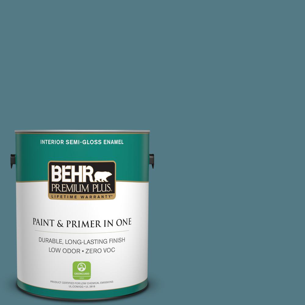 1-gal. #540F-5 Smokey Blue Zero VOC Semi-Gloss Enamel Interior Paint