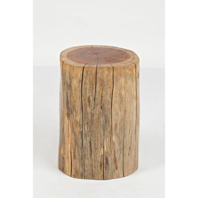Natural Brown Round Wooden Stump Accent Table