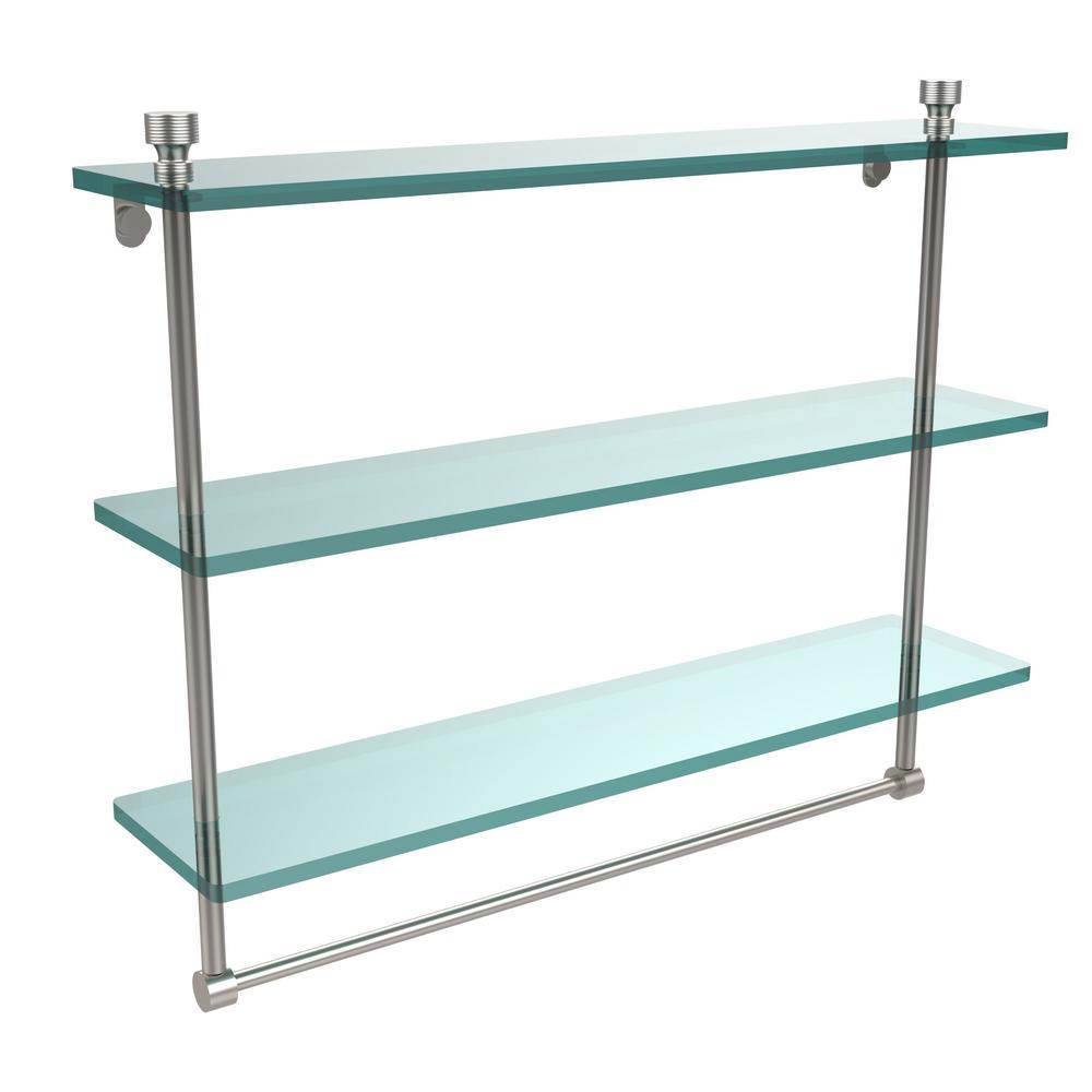 glass shelf with towel bar 18. l x 18 in. h 5 w 3 glass shelf with towel bar
