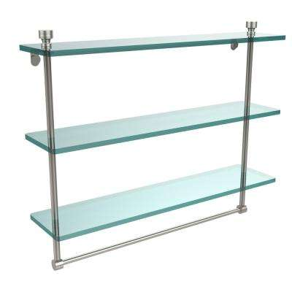 Foxtrot 22 in. L  x 18 in. H  x 5 in. W 3-Tier Clear Glass Bathroom Shelf with Towel Bar in Satin Nickel