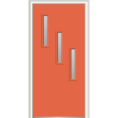 36 in. x 80 in. Davina Right-Hand Inswing 3-Lite Frosted Glass Painted Steel Prehung Front Door on 4-9/16 in. Frame