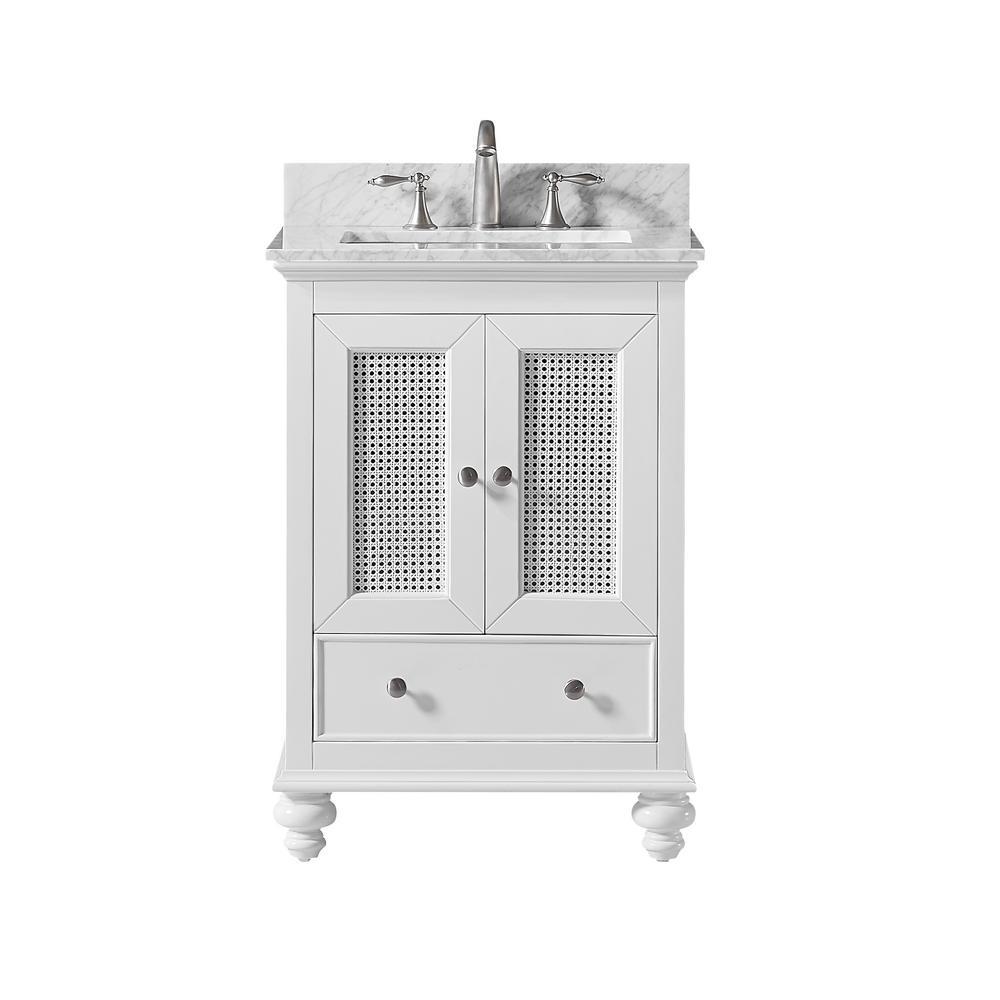 Aerin 25 in. W x 22 in. D x 34.57 in. H Bath Vanity in White with Carrara Marble Vanity Top in White with White Basin