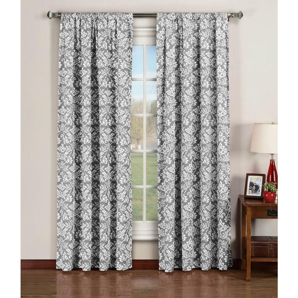 Window Elements Semi-Opaque Valencia Printed Cotton Extra Wide 96 in. L Rod Pocket Curtain Panel Pair, Grey (Set of 2)