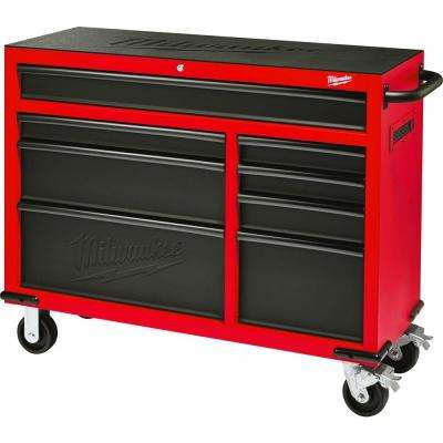 46 in. 8-Drawer Steel Storage Roller Cabinet Tool Chest in Red and Black