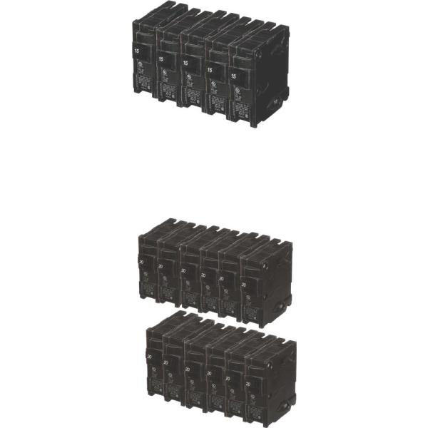 15 Amp Single Pole (12-Pack) and 20 Amp Single Pole (24-Pack) Circuit Breakers