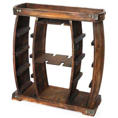 8-Bottle Brown Rustic Wooden Wine Rack with Decorative Wine Glass Holder