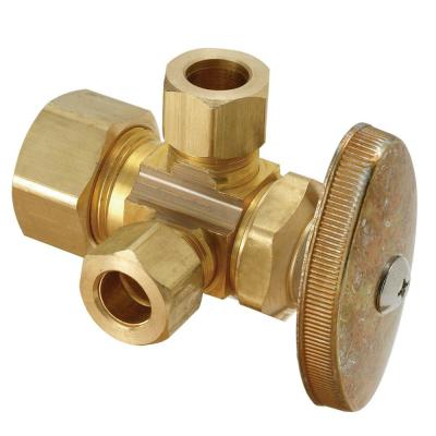 1/2 in. Nominal Compression Inlet x 3/8 in. O.D. Compression x 3/8 in. O.D. Compression Dual Outlet Multi-Turn Valve