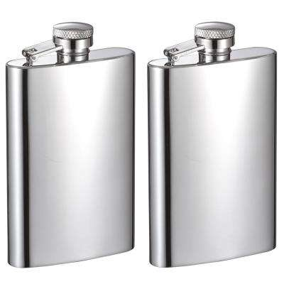 4 oz. Mini Mirrored Stainless Steel Liquor Flask (2-Set)
