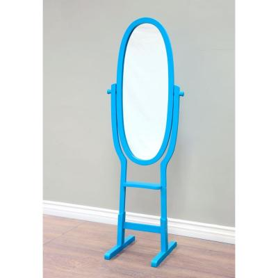 Large Blue Wood Modern Mirror (53.98 in. H X 14.18 in. W)