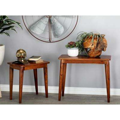 Stained Brown Rectangular Nesting Console Tables (Set of 2)