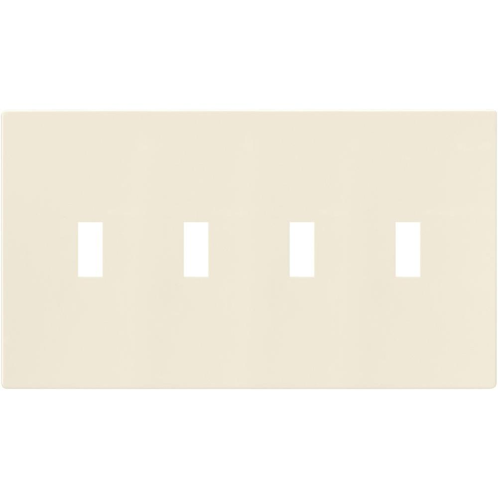 4-Gang Screwless Toggle Switch Mid-Size Wall Plate - Light Almond
