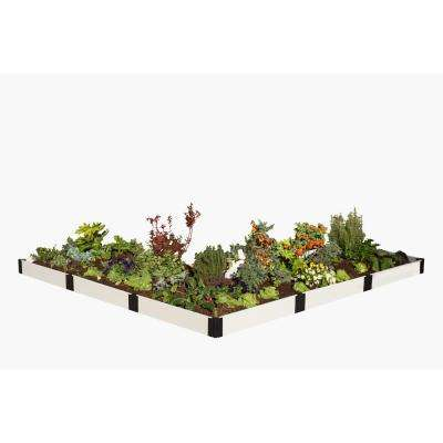 12 ft. x 12 ft. x 8 in. White Composite L Shaped Raised Garden Bed Kit