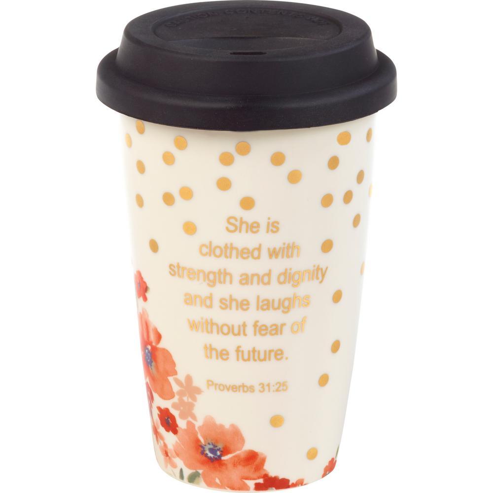 Floral 11 oz. Multi Colored Porcelain with Lid Mug