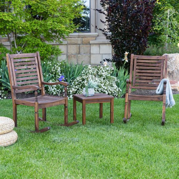 Dark Brown 3-Piece Acacia Wood Traditional Rocking Chair Outdoor Chat Set with Slatted Square Side Table
