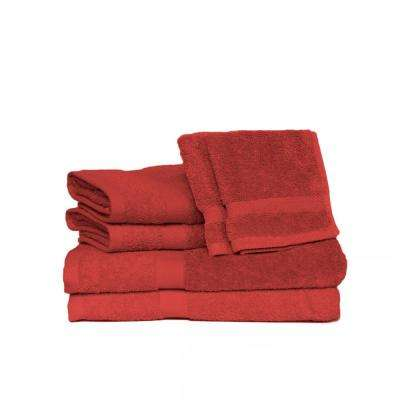 Deluxe 6-Piece Cotton Terry Bath Towel Set in Ruby