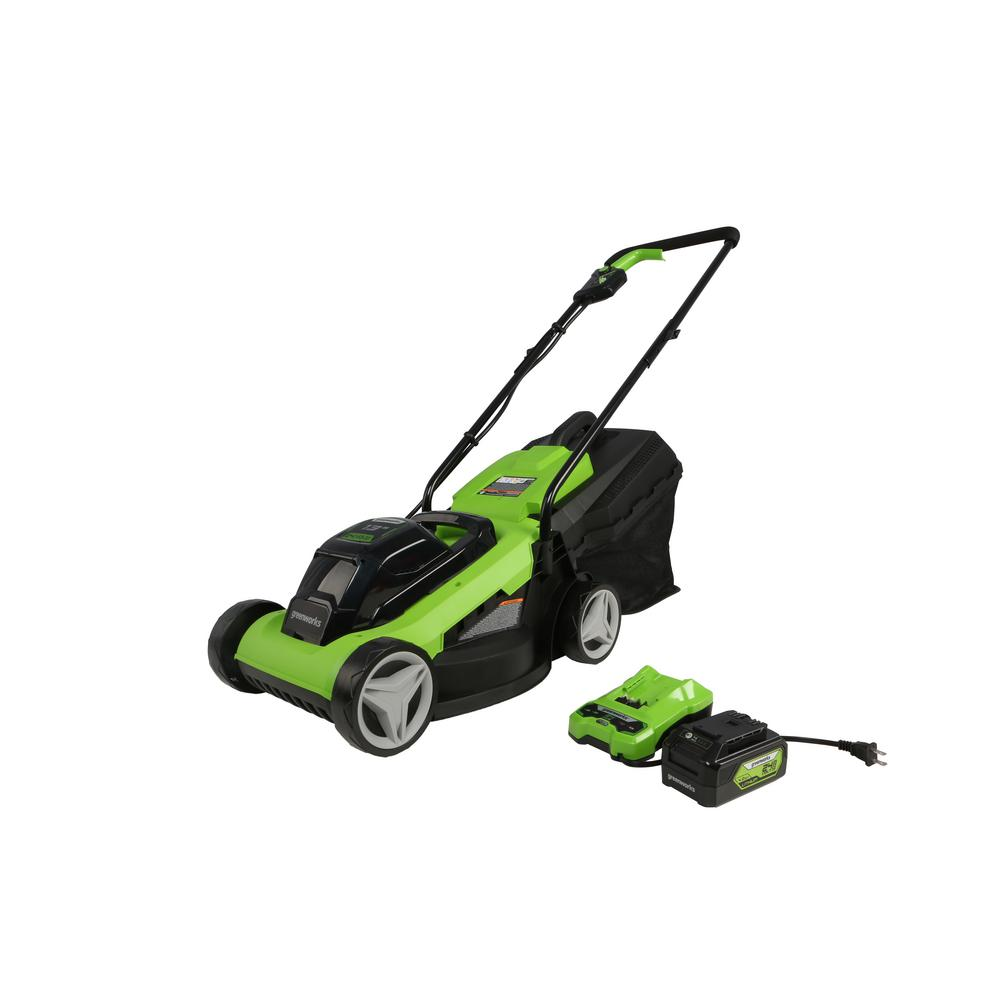 Greenworks 13 in. 24-Volt Battery Walk Behind Push Mower, 4Ah...