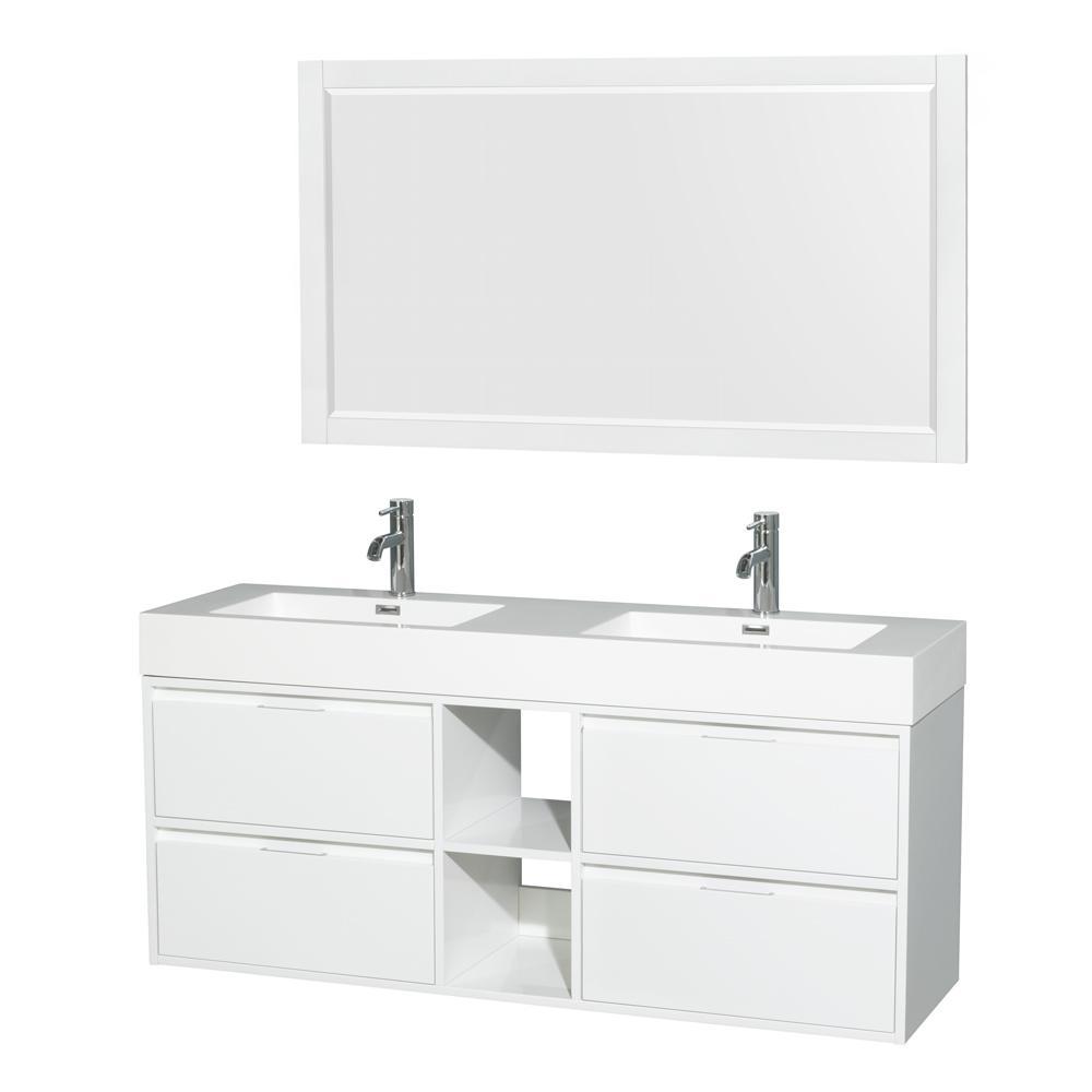 Daniella 60 in. W x 18 in. D Vanity in Glossy White with Acrylic Vanity Top in White with White Basins and 58 in. Mirror