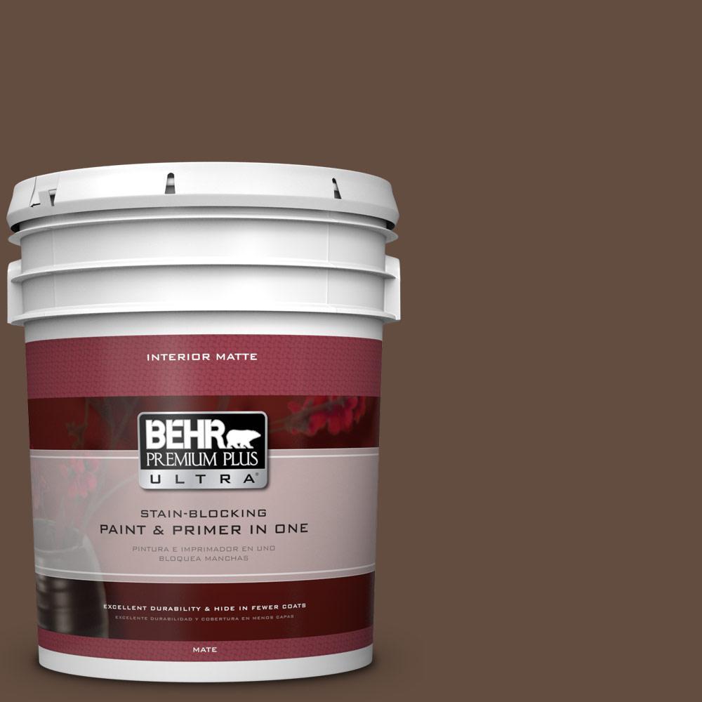 BEHR Premium Plus Ultra 5 gal. #760B-7 Revival Mahogany Flat/Matte Interior Paint