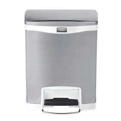 Slim Jim Step-On 8 Gal. White Stainless Steel Front Step Trash Can