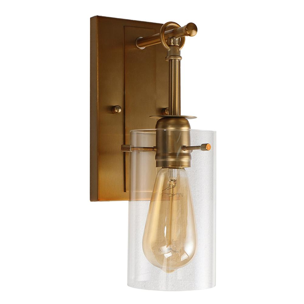 Brooklyn Collection 1-Light Antique Brass Sconce with Clear Glass Shade