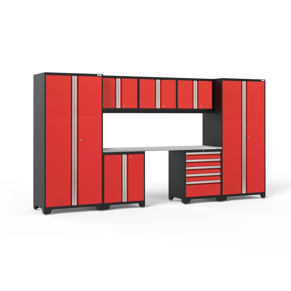 Pro 3.0 156 in. W x 83.25 in. H x 24 in. D 18-Gauge Welded Steel Stainless Steel Worktop Cabinet Set in Red (8-Piece)
