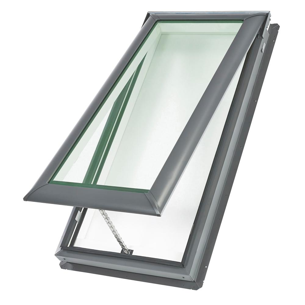 Velux 30 1 16 x 37 7 8 in fixed deck mount skylight with for Velux solar skylight tax credit