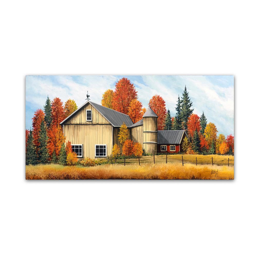 10 in. x 19 in. Yellow Barn Fall by Debbi Wetzel Floater Frame Country Wall Art