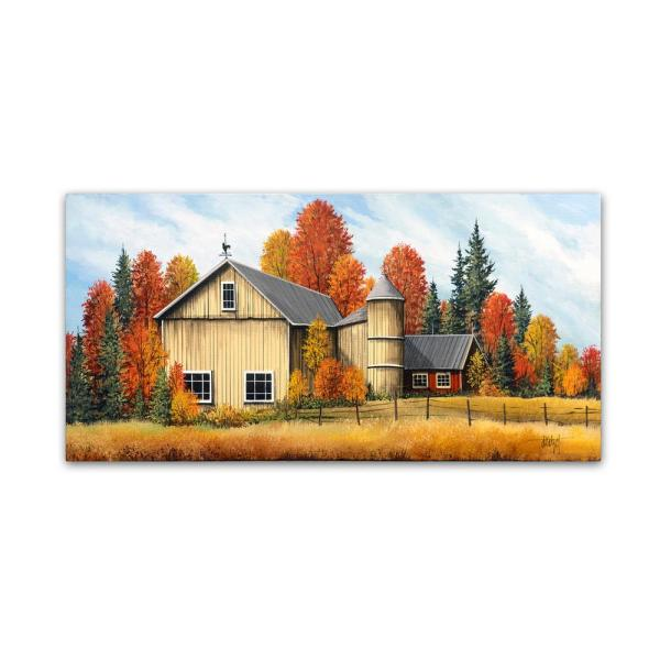12 in. x 24 in. Yellow Barn Fall by Debbi Wetzel Floater Frame Country Wall Art