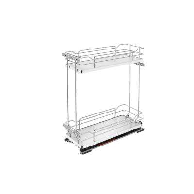 21 in. H x 8.38 in. W x 22.38 in. D Two-Tier Pull-Out Gray Wire Organizer