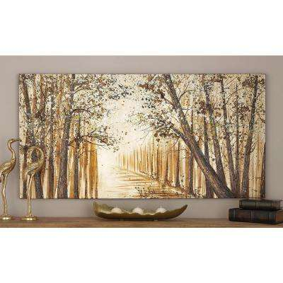 "28 in. x 55 in. Modern Abstract ""Brown Forest"" Canvas Art"