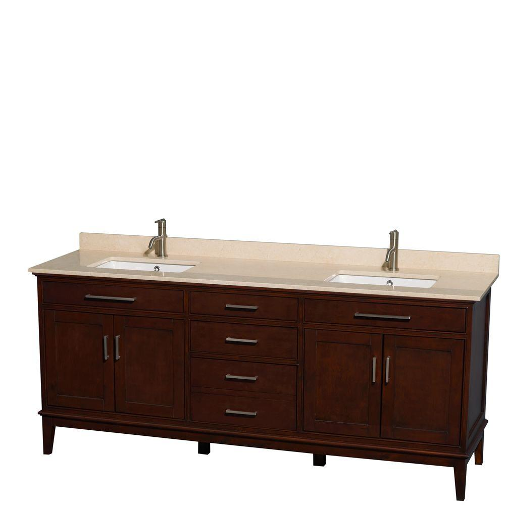 Wyndham Collection Hatton 80 in. Double Vanity in Dark Chestnut with Marble Vanity Top in Ivory and Square Sinks