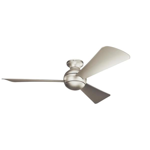 Kichler Sola 54 In Integrated Led Indoor Brushed Nickel Flush Mount Ceiling Fan With Light Kit And Wall Control 330152ni The Home Depot