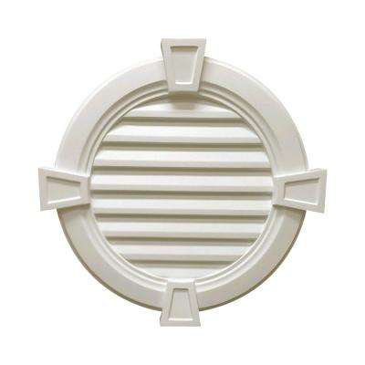 34-1/2 in. x 34-1/2 in. x 3-1/2 in. Polyurethane Round Functional Louver Vent with Trim and Keystones in White