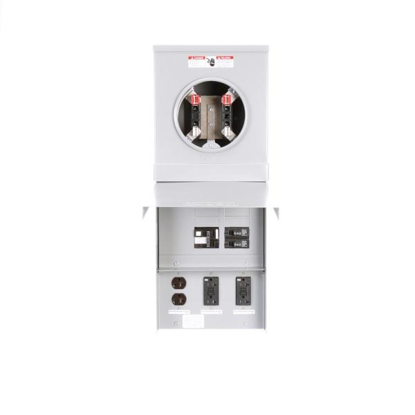 Temporary Power Outlet Panel Ring Type Surface Mount with One 20Amp GFCI Protected Receptacle and Two 20Amp Receptacles
