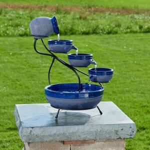 Smart Solar Ceramic Blueberry Solar Cascade Fountain with Rustic Blue Finish by Smart Solar