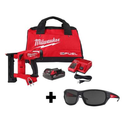 M18 FUEL 1/4 in. 18-Volt 18-Gauge Lithium-Ion Brushless Narrow Crown Stapler Kit and Tinted Performance Safety Glasses