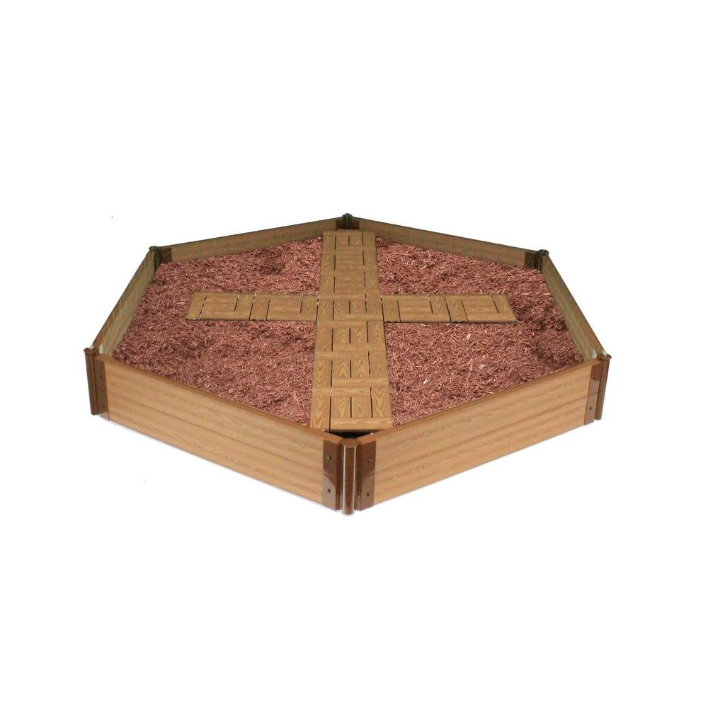 Frame It All Hexagon Raised Garden Bed with Garden Tiles Cross Pattern-DISCONTINUED
