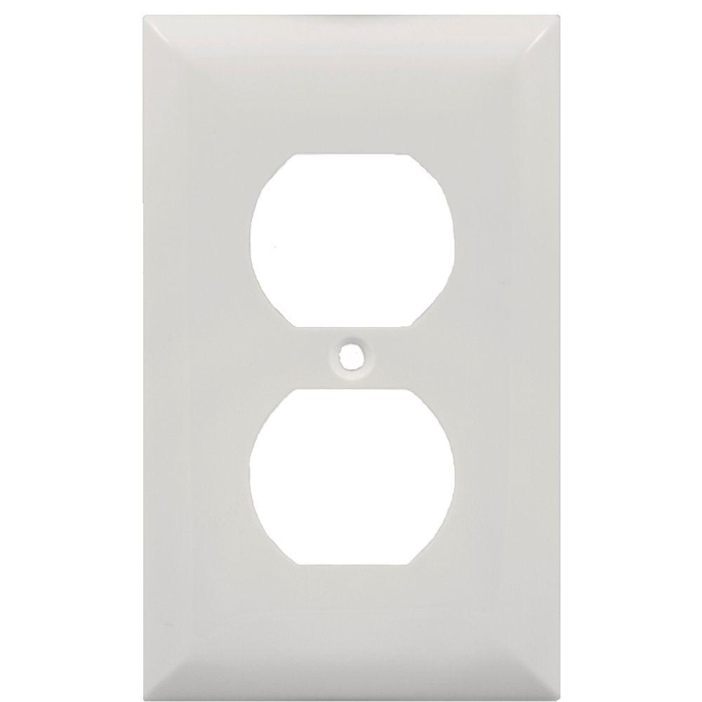 GE 2 Receptacle Nylon Wall Plate - White