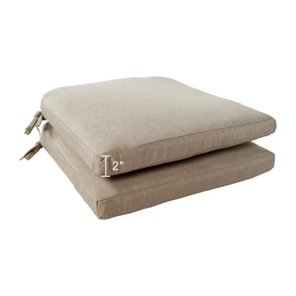 Hampton Bay Beverly 18 X 18 Outdoor Dining Chair Replacement Cushion In Beige 2 Pack 89 23311b The Home Depot